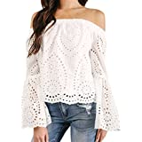 Mose Women's Shirts, Off Shoulder Long Sleeve Hollow Lace Loose Blouse Tops T-Shirt Vest Blouse Casual Solid Elegant Tops