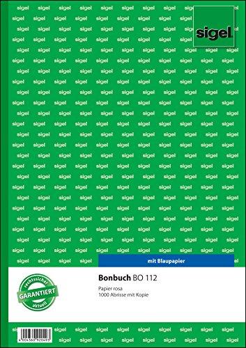 Sigel BO112 Bonbuch, 1000 Abrisse, rosa, DIN A4, 2x50 Blatt