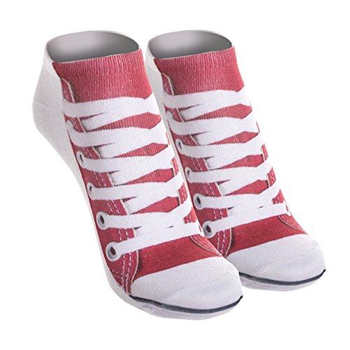 Funny Socks Damen Motive Festival Cool Blogger Füßlinge Style Allover Print Fullprint Sneaker Sportsocken Socken Onesize SNEAKERS RED