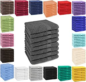 Betz Lot de 8 serviettes taille 50x100 cm 100% coton Set de 8 serviettes de toilette Premium color anthracite