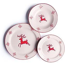 Merry Christmas Vajilla 18 Piezas Blanco/Rojo