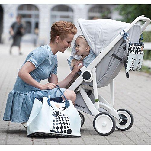 Sevira Kids Sac à langer - sac a main, Borsa tote donna beige Sweet Family Chessboard 45 x 29 cm (+/- 2 cm) Dreamcatcher Blanc