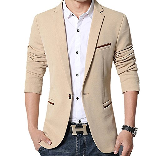 donhobo Herren Sakko Slim Fit Freizeit Modern Solid Business Jacken Smoking Hochzeit Blazer(Khaki,XS)