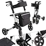 Kesser Aluminium Roller Set, Lightweight Travel Walker with Full Equipment, 3-Way Foldable, Ideal for Car Boot, Travel and Flight, Height Adjustable, Strap, Walking Aid