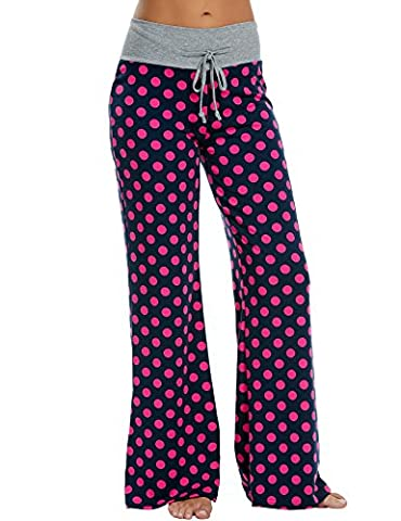 HOTOUCH Womens Super Soft Flannel Polka Dot Pajama/Lounge Pants Navy Red M