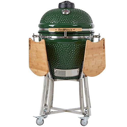 RedNeck Ceramic BBQ Kamado Cera 21 Pro Garden Grill Charcoal Barbecue Diameter 55 cm, Practical Green XL Bamboo Shelves, up to 400 °C