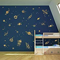 decalmile Gold Space Planets Wall Decals Rockets Astronaut Wall Stickers Kids Playroom Boys Bedroom Wall Decor