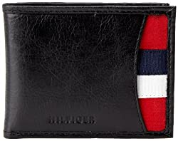 Tommy Hilfiger Mens Bexley Passcase Billfold, Black, One Size