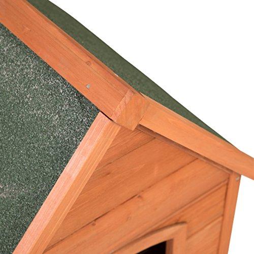 Ribelli Wetterfeste Hundehütte aus Braunem Tannenholz mit grünem Spitzdach – Hundehaus Hundehöhle mit Abnehmbarem Dach, ca. 66 x 82,5 x 74 cm - 5