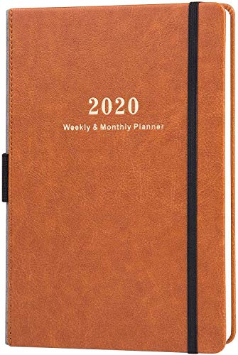 Terminplaner 2020 - Akademischer Wochen und Monats Kalender mit Kalender Aufklebern, Dickem Premium Papier A5 mit Stifthalter, Innentasche und 88 Notizenseiten