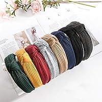 DAHI haarband dames 8 stuks haarband hoofdband haarband vintage hoofd warp met knopen in 8 verschillende kleuren