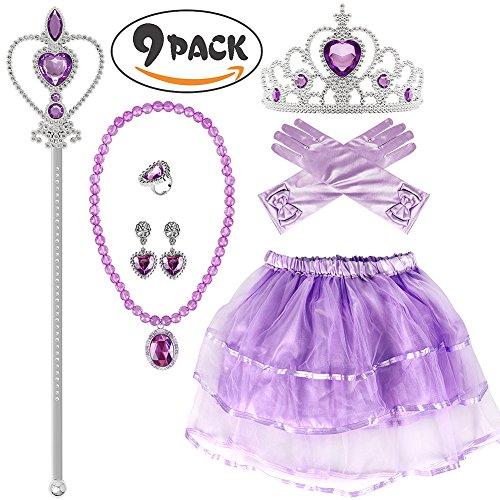 Tanz Für Kostüm Ballett Verkauf - VAMEI Mädchen Prinzessin Sofia Kostüm Party Zubehör, Handschuhe, Tiara, Zauberstab, Halskette, Tutu Rock