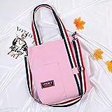 Jinsun Work Shoulder Bags Female Canvas Colorful Shoulder Straps Bag Simple Light File Shopping Travel Handbag (Pink)
