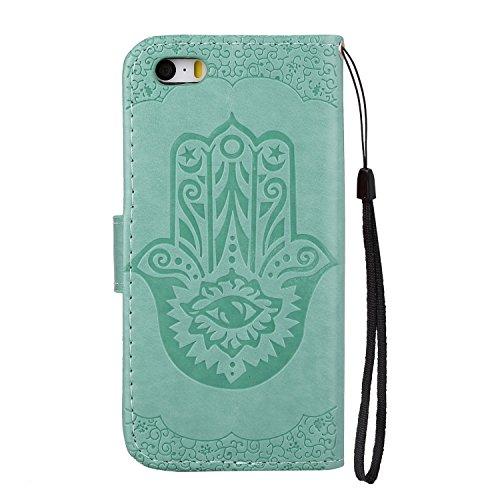 EKINHUI Case Cover Geprägte Floweer Muster Retro Art PU-lederne Fall-Abdeckung mit Mappen-Beutel u. Lanyard u. Kickstand für iPhone 5s u. SE ( Color : Purple ) Green