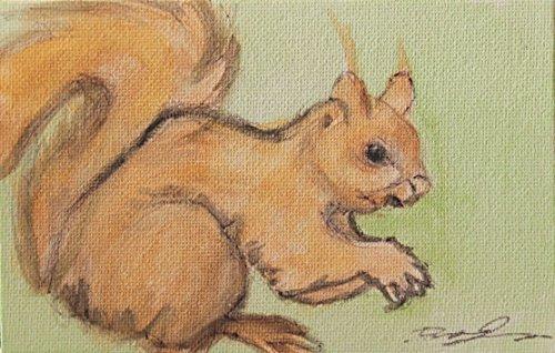 Die Eichhörnchen-Malerei auf Karton Leinwand von Hand gefertigt und mit Aquarell, Größe...