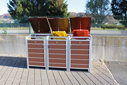 PREWOOD WPC MÜLLTONNENBOX, MÜLLTONNENEINHAUSUNG für 3 x 240l Mülltonne, Marrakech (braun), PERFEKTION IM DETAIL - EXKLUSIV - DIREKT VOM HERSTELLER