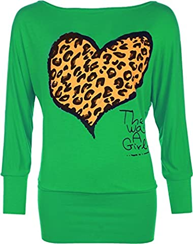 Womens Plus Size Leopard Animal Heart Print Ladies Batwing Sleeve