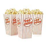Tebery 48 x Sacchetti di Popcorn - Bianco Rosso A Strisce - Popcorn Box bellissime per Cinema, Hollywood Party - 16 x 9,5 x 7 cm