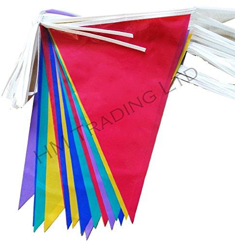Multi Plastique PVC coloré Guirlande Bannière 10 metre de long 20 fanions double face Intérieur et extérieur Décoration de fête (2)