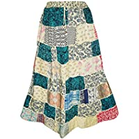 Mogul Interior Womens Hippe Chic Skirt Multi Green Patchwork Rayon Large