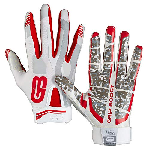 GRIP BOOST Stealth Pro Elite American Football Receiver Handschuhe - weiß/rot Gr. L