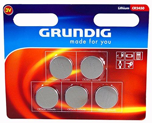 5x GRUNDIG CR 2450 LITHIUM Batterien Knopfzellen Uhren Digital Foto Kamera Küche Küchen Waage 12.2018 CR2450