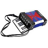 Fdit Socialme-EU Kinder-Akkordeon Spielzeug Didaktisches Spielzeug Rhythmische Mini Akkordeon für Bass 8-17 Tasten für Kinder Schwarz