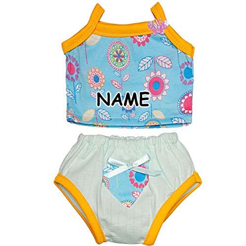 alles-meine.de GmbH 2 * 2 TLG. Set Puppenbekleidung - Größe 34 - 46 cm - inkl. Name - Unterwäscheset / Badebode / Sommermode - 100 % Baumwolle - Garnitur - - Unterwäsche-set Puppenkleidung