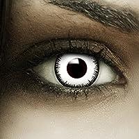 Farbige Kontaktlinsen  Vampir  MIT STÄRKE+ Kunstblut Kapseln + Behälter von FXCONTACTS in weiß, weich, ohne Stärke als 2er Pack - perfekt zu Halloween, Karneval, Fasching oder Fasnacht