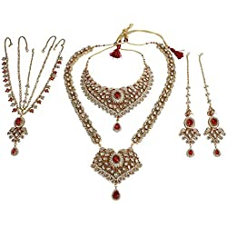 Muchmore White Metal Kundan Bridal Necklace Set For Women