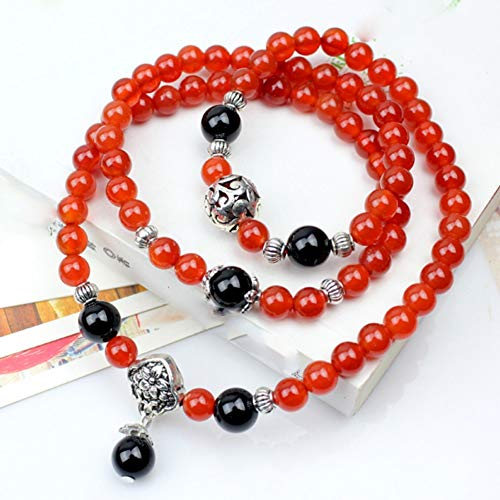 BANGLEW Armband Frauen Männer Multi-Ring Armband Naturstein, Kristall Armbänder Perlen Armband Männer Frauen Armreifen Perlen Armbänder Handgemachten Schmuck, Rot
