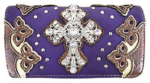 Blancho Biancheria da letto delle donne [Diamante] PU Leather Bag Set Elegante Portafoglio Hanbag Comobo Fashion Bag viola Wallet-Viola