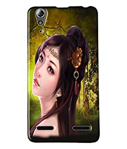 Fuson Cute Girl Back Case Cover for LENOVO A6000 - D3630