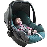 BAMBINIWELT Ersatzbezug für Maxi-Cosi PEBBLE 5-tlg., Bezug für Babyschale, Komplett-Set *NEU* GRAU / TÜRKIS