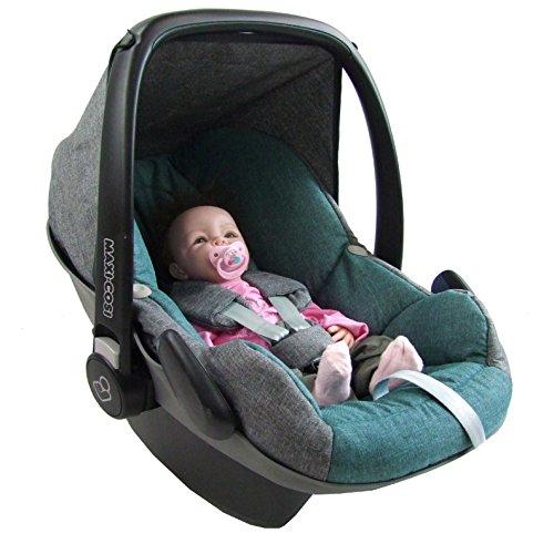 BAMBINIWELT Ersatzbezug für Maxi-Cosi PEBBLE 5-tlg, Bezug für Babyschale, Komplett-Set *NEU* GRAU/TÜRKIS