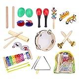 12-in-1-Musik-Percussion-Spielzeug-Set, Musikinstrumente für Kleinkinder mit Tragetasche für Kinder mit Xylophon, Rhythmusband, Tamburin, Maracas, Handgelenkglocke, Eierstreuer für Kleinkinder, Kinder, Vorschul-Perkussion-Set für Kinder aller Altersstufen