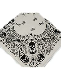 100% cotton white with black skulls and crossbones paisley effect design bandana, 55cm square. Ideal for every day wear, pirate party, bikers etc.