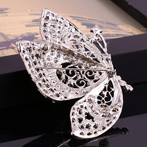 Papillon Broche en Cristal et Strass Bijoux Des Femmes pour Mariage et Autres Occasions Bleu