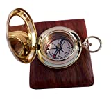 Handmade Brass Push Button Direction Compass POCKET COMPASS with Rose Wood