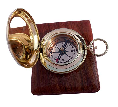71bc9bc8a997 Handmade Brass Push Button Direction Compass POCKET COMPASS with Rose Wood