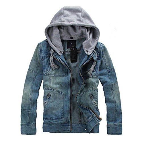 YYF Herren Jahrgang Jeansjacke Slim Fit Waschen Denim jacket Mantel Dunkelblau