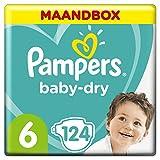 Pampers Baby-Dry Maat 6 (13-18kg), 124 Luiers, Luchtdoorlatende Banen Voor Een Droge Huid Die Kan Ademen Tijdens De Nacht, Maandbox