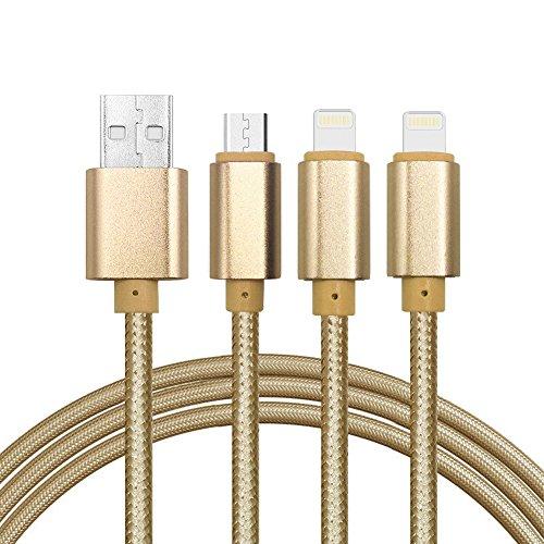 Multi, cavo USB 3in 1Micro USB e Lightning in nylon