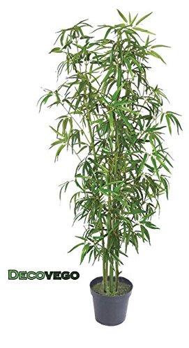 Decovego Bambus Kunstbaum Kunstpflanze Künstliche Pflanze mit Echtholz 180cm