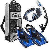 TUSA Sport Adult Black Series Visio Tri-Ex Mask, Dry Snorkel, and Fins Travel Set, Black/Metallic Blue, Medium
