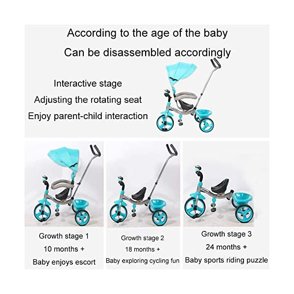 BGHKFF 4 In 1 Children's Hand Push Tricycle 10 Months To 6 Years 360° Swivelling Saddle Children's Pedal Tricycle Folding Sun Canopy Adjustable Handle Bar Child Trike Maximum Weight 25 Kg,Blue  ★Material: High carbon steel frame, suitable for children from 10 months to 6 years old, the maximum weight is 25 kg ★ 4 in 1 multi-function: can be converted into a stroller and a tricycle. Remove the hand putter and awning, and the guardrail as a tricycle. ★Safety design: golden triangle structure, safe and stable; front wheel clutch, will not hit the baby's foot; guardrail; rear wheel double brake 2