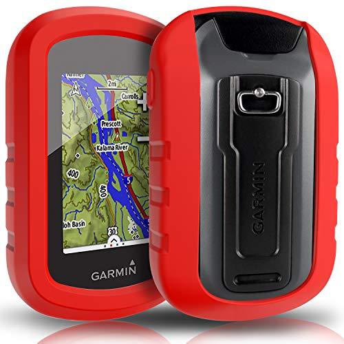 TUSITA hülle für Garmin eTrex Touch 25 35 35t - Silikon Schutzhülle Skin - Handheld GPS Navigator Zubehör (ROT) Etrex Fall