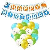 WERNNSAI Decorazioni di Compleanno di Dinosauro - Articoli per Feste per Ragazzi Bambini Compleanno Dinosauro Tema Party Striscione Blu Verde Dorato Coriandoli Palloncino in Lattice Nastro 23 Pezzi