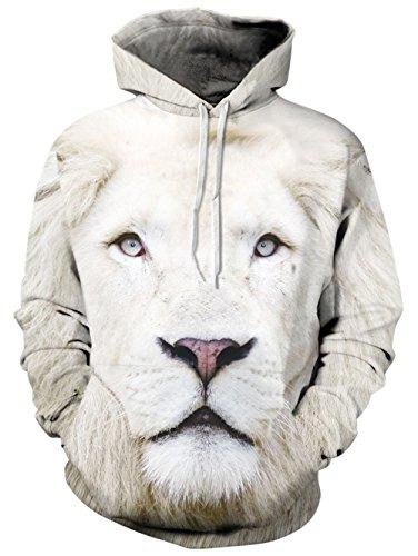 BFUSTYLE Unisex 3D bedruckt mit Kapuze Xmas White Lion Sweatshirt Pullover Tunnelzug Jacke mit großer Tasche (Lions Polyester)