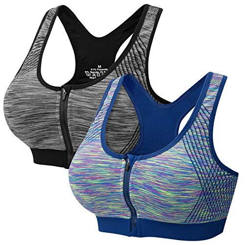 CARETOO Sport Bra Damen Push Up Zip Front,1er/2er/3er Pack High Support Racerback Bra Gepolstert für Sport Yoga
